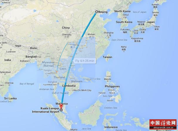 吉隆坡-北京 飞机失去联系